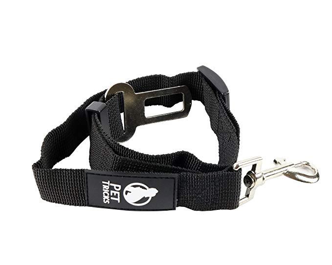 Pet Tricks Dog Seat Belt - Adjustable Black Durable Nylon - Universal Compatibility - Car Safety Harness Leash Restraint
