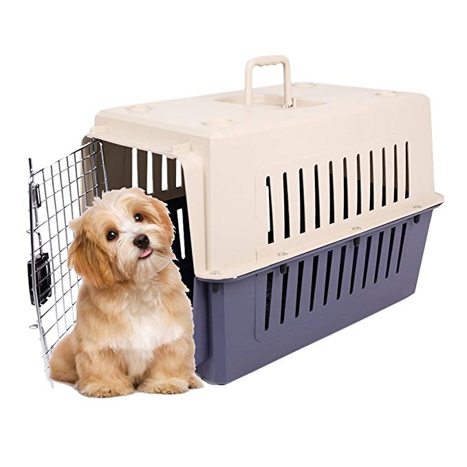 KARMAS PRODUCT 4 Size Plastic Cat & Dog Carrier Cage with Chrome Door Portable Pet Box Airline Approved