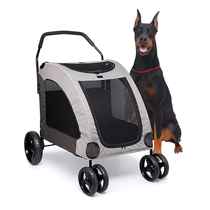 Towerin Large Pet Stroller Breathable Mesh Window Dog Cage Stroller Travel Carrier Carriage with Four Wheel Easy Walk for Jogger Jogging Travel up to 120 lbs