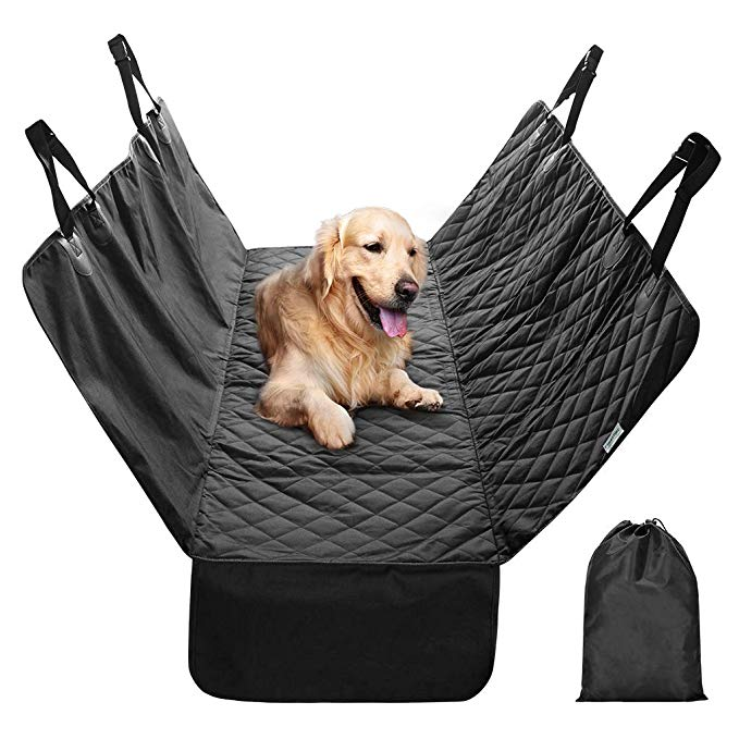 Finether Dog Seat Cover Car Seat Cover for Pets Pet Seat Cover Hammock Quilted Scratch Proof Waterproof Nonslip Backing Dogs Rear Seat Cover with Side Flaps Seat Belt Openings for Cars Trucks Suvs