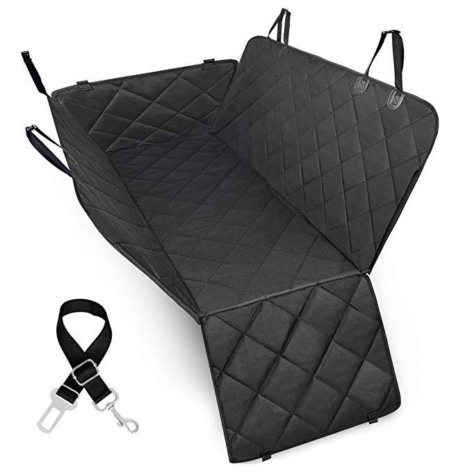 Ace Teah Dog Seat Cover for Back Seat Waterproof Dog Hammock Backseat Dog Cover with Extra Side Flaps for Cars Trucks and SUVs, Nonslip and Durable, Black
