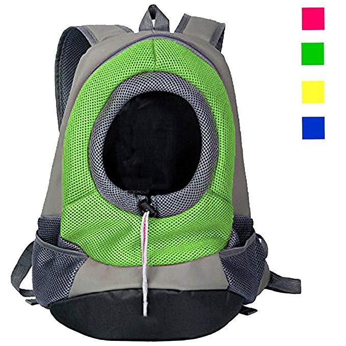 KRexpress Pet Dog Cat Carrier Front Pack Backpack Mesh Portable Outdoor Travel Dog Pouch Carrier Bag Head out Carrier Adjustable Padded Shoulder Strap Hands Free with Pockets