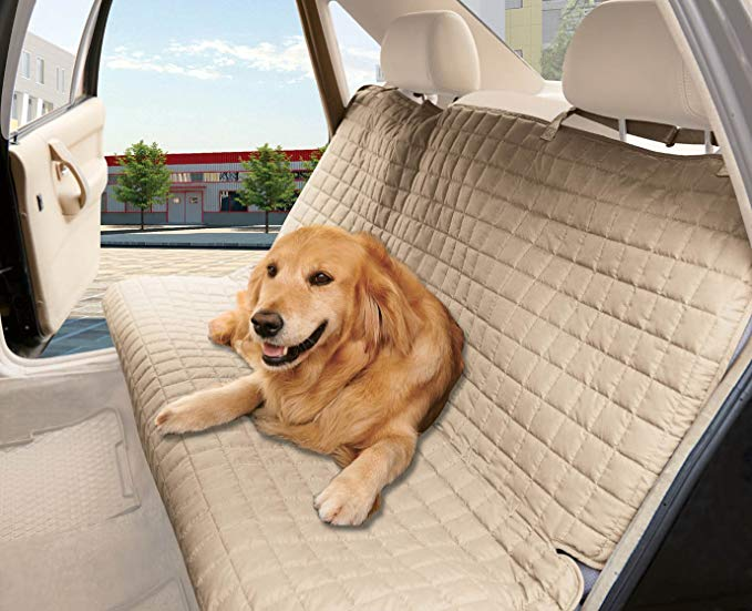 Elegant Comfort Quilted Design %100 Waterproof Premium Quality Bench Car Seat Protector Cover (Entire Rear Seat) for Pets - TIES TO STOP SLIPPING OFF THE BENCH