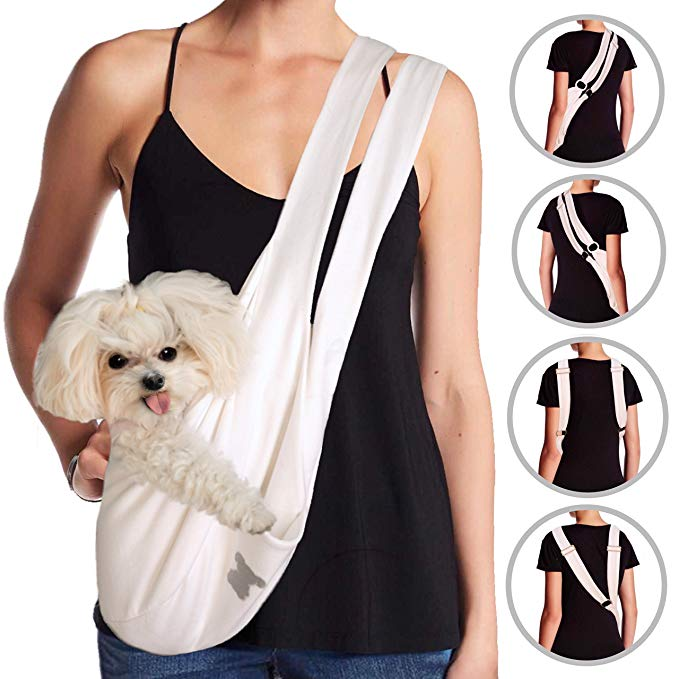 MISO PUP Dual Strap Sling Carrier (White/Gold)
